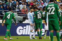 Seattle, WA - Tuesday June 14, 2016: Argentina midfielder Lionel Messi (10) confronts Bolivia midfielder Jhasmani Campos (10) during a Copa America Centenario Group D match between Argentina (ARG) and Bolivia (BOL) at CenturyLink Field