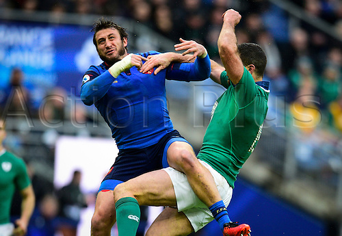 13.02.2016. Stade de France, Paris, France. 6 Nations Rugby international. France versus Ireland.  Maxime Medard ( France ) and  Rob Kearney ( Ireland ) challenge for the high ball