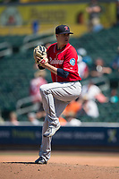 Tacoma Rainiers relief pitcher Mike Morin (28) delivers a pitch during a Pacific Coast League game against the Sacramento RiverCats at Raley Field on May 15, 2018 in Sacramento, California. Tacoma defeated Sacramento 8-5. (Zachary Lucy/Four Seam Images)