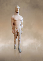 Naxian marble Ancient Greek Archaic statue of a kouros, found on Thera, circa 590-570 BC BC, Athens National Archaeological Museum. Cat no 8.<br /> <br /> This statue is typical of a Thera island workshop