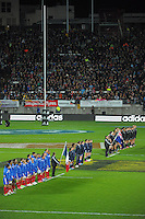 The teams sing their national anthems during the international rugby match between the New Zealand All Blacks and France at Yarrow Stadium, New Plymouth, New Zealand on Saturday, 21 June 2013. Photo: Dave Lintott / lintottphoto.co.nz