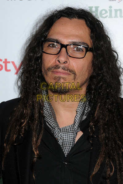 James Shaffer of Korn.Warner Music Group 2013 Grammy Celebration held at The Chateau Marmont, West Hollywood, California, USA..February 10th, 2013.headshot portrait black glasses grey gray scarf goatee facial hair .CAP/ADM/BP.©Byron Purvis/AdMedia/Capital Pictures.