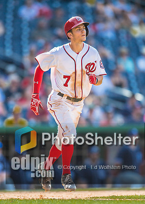 24 July 2016: Washington Nationals infielder Trea Turner in action against the San Diego Padres at Nationals Park in Washington, DC. The Padres defeated the Nationals 10-6 to take the rubber match of their 3-game, weekend series. Mandatory Credit: Ed Wolfstein Photo *** RAW (NEF) Image File Available ***