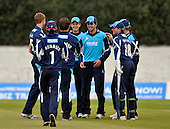 Scottish Saltires V Nottingham Outlaws - Clydesdale Bank 40 - at Grange CC (Edinburgh) - the Saltires celebrate a wicket - one of four catches by Calum MacLeod (centre) in the game (equalling the Scottish record in an innings) - Picture by Donald MacLeod  07.5.12  07702 319 738  clanmacleod@btinternet.com