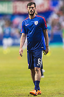 United States' defender Brad Evans (6) warms up before an international friendly at the Alamodome, Wednesday, April 15, 2015 in San Antonio, Tex. (Mo Khursheed/TFV Media via AP Images)