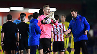 Lincoln City's Ryan Allsop applauds the fans at the final whistle<br /> <br /> Photographer Chris Vaughan/CameraSport<br /> <br /> The EFL Sky Bet League Two - Lincoln City v Cheltenham Town - Tuesday 13th February 2018 - Sincil Bank - Lincoln<br /> <br /> World Copyright &copy; 2018 CameraSport. All rights reserved. 43 Linden Ave. Countesthorpe. Leicester. England. LE8 5PG - Tel: +44 (0) 116 277 4147 - admin@camerasport.com - www.camerasport.com