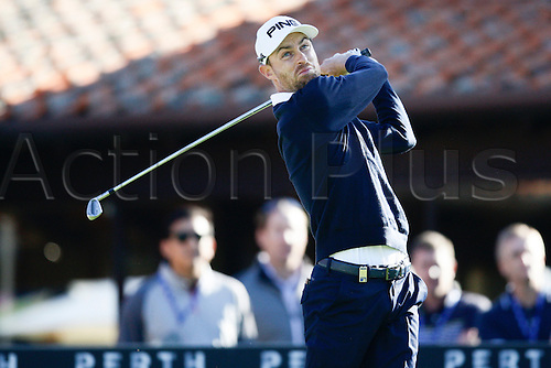 25.02.2016. Perth, Australia. ISPS HANDA Perth International Golf. Rhys Davies (WAL) hits his first shot for the tournament on tee 1 day 1.