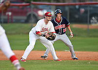 Lake Mary Rams first baseman Jacob Corso (24) in the field with Jimmy Howse (16) leading off behind during a game against the Lake Brantley Patriots on April 2, 2015 at Allen Tuttle Field in Lake Mary, Florida.  Lake Brantley defeated Lake Mary 10-5.  (Mike Janes/Four Seam Images)