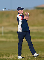 Marcus Fraser of Australia hits an approach during Round 2 of the 2015 Alfred Dunhill Links Championship at the Old Course, St Andrews, in Fife, Scotland on 2/10/15.<br /> Picture: Richard Martin-Roberts | Golffile