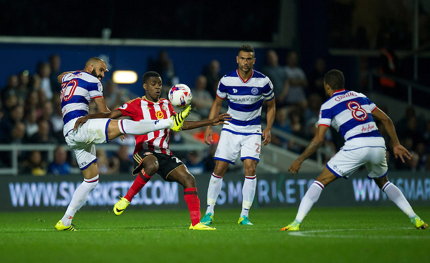 Sunderland's Joel Asoro battles for possession with Queens Park Rangers' Sandro<br /> <br /> Photographer Ashley Western/CameraSport<br /> <br /> The EFL Cup Third Round - Queens Park Rangers v Sunderland - Wednesday 21st September 2016 - Loftus Road - London<br />  <br /> World Copyright &copy; 2016 CameraSport. All rights reserved. 43 Linden Ave. Countesthorpe. Leicester. England. LE8 5PG - Tel: +44 (0) 116 277 4147 - admin@camerasport.com - www.camerasport.com