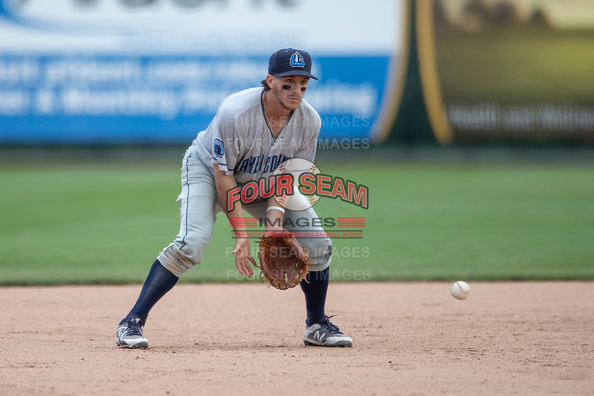 Lake County Captains third baseman Jesse Berardi (17) fields a ground ball against the South Bend Cubs on May 30, 2019 at Four Winds Field in South Bend, Indiana. The Captains defeated the Cubs 5-1.  (Andrew Woolley/Four Seam Images)