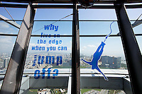 A sign encouraging people to bungee jump at the Macao Tower.<br />