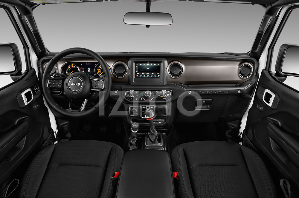 Stock photo of straight dashboard view of a 2020 Jeep Wrangler Unlimited Sport 5 Door SUV