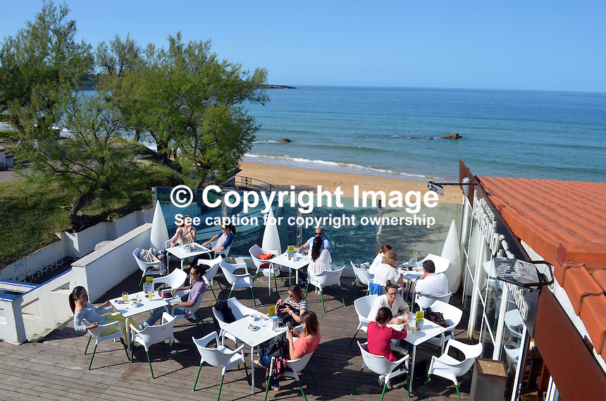 Chiringuito, restaurant, Beach, El Sardinero, Santander, Spain, May, 2015, 201505083843<br /> <br /> Copyright Image from Victor Patterson, 54 Dorchester Park, Belfast, UK, BT9 6RJ<br /> <br /> t: +44 28 9066 1296<br /> m: +44 7802 353836<br /> vm +44 20 8816 7153<br /> <br /> e1: victorpatterson@me.com<br /> e2: victorpatterson@gmail.com<br /> <br /> www.victorpatterson.com<br /> <br /> IMPORTANT: Please see my Terms and Conditions of Use at www.victorpatterson.com
