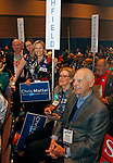 Hartford, CT-051918MK07 at the 2018 (foreground to back) Kent Delegates Rick and Leslie Levy and Litchfield delegates Barbara Ellis, Jennine Lupo, Chair and Joe Manes, vice chair gathered at the Connecticut Democratic Convention in Hartford Saturday afternoon.  Michael Kabelka / Republican-American.