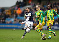 9th February 2020; The Den, London, England; English Championship Football, Millwall versus West Bromwich Albion; Jed Wallace of Millwall shoots as Conor Townsend of West Bromwich Albion challenges