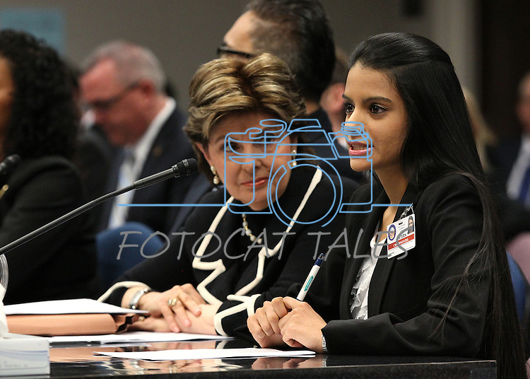 Legislative Intern Chandni Patel testifies with attorney Gloria Allred at the Legislative Building in Carson City, Nev., on Friday, March 13, 2015. <br /> Photo by Cathleen Allison