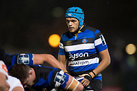Zach Mercer of Bath Rugby looks on at a scrum. Anglo-Welsh Cup match, between Bath Rugby and Leicester Tigers on November 10, 2017 at the Recreation Ground in Bath, England. Photo by: Patrick Khachfe / Onside Images