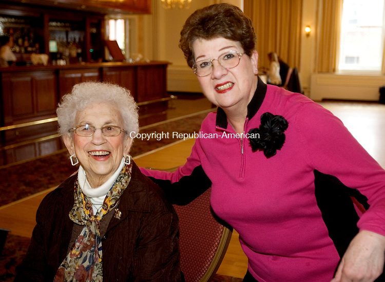 TORRINGTON CT. 30 March 2014-033014SV11-From left, Ann Giannattassio of Torrington and Lucille Paige of Torrington attend The Republican Town Committee brunch for former mayor Ryan Bingham at the Elks Club in Torrington Sunday.<br /> Steven Valenti Republican-American