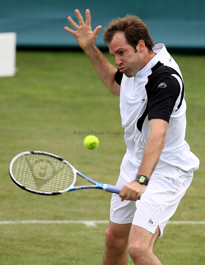 Photo: Paul Thomas..The Liverpool International 2007. 12/06/2007...Greg Rusedski in action against qualifier Chris Llewellyn.