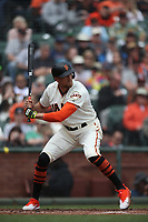 SAN FRANCISCO, CA - APRIL 11:  Hunter Pence #8 of the San Francisco Giants bats against the Arizona Diamondbacks during the game at AT&T Park on Wednesday, April 11, 2018 in San Francisco, California. (Photo by Brad Mangin)