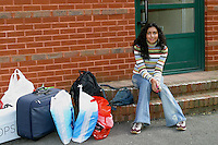 New student waiting to move in , University of Surrey.