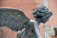 Snow Day on campus - Chapel angel sculpture.<br />  (photo by Megan Bean / &copy; Mississippi State University)