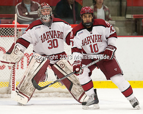Raphael Girard (Harvard - 30), Brayden Jaw (Harvard - 10) - The Harvard University Crimson defeated the Colgate University Raiders 4-1 (EN) on Friday, February 15, 2013, at the Bright Hockey Center in Cambridge, Massachusetts.
