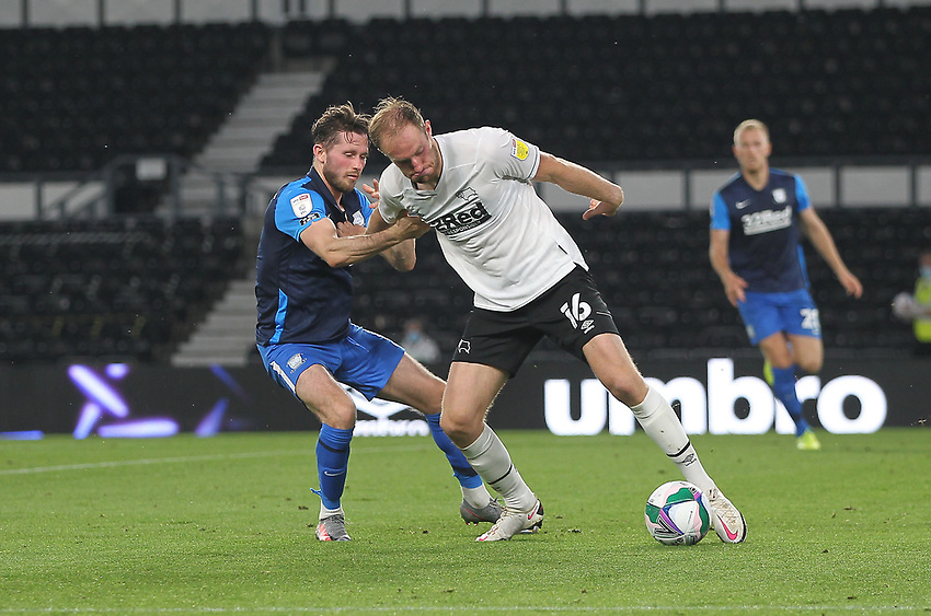 Preston North End's Alan Browne battles with  Derby County's Matthew Clarke<br /> <br /> Photographer Mick Walker/CameraSport<br /> <br /> Carabao Cup Second Round Northern Section - Derby County v Preston North End - Tuesday 15th September 2020 - Pride Park Stadium - Derby<br />  <br /> World Copyright © 2020 CameraSport. All rights reserved. 43 Linden Ave. Countesthorpe. Leicester. England. LE8 5PG - Tel: +44 (0) 116 277 4147 - admin@camerasport.com - www.camerasport.com