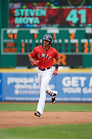 Erie SeaWolves right fielder Steven Moya (41) rounding the bases after hitting a home run in the bottom of the first inning during a game against the Hartford Yard Goats on August 6, 2017 at UPMC Park in Erie, Pennsylvania.  Erie defeated Hartford 9-5.  (Mike Janes/Four Seam Images)