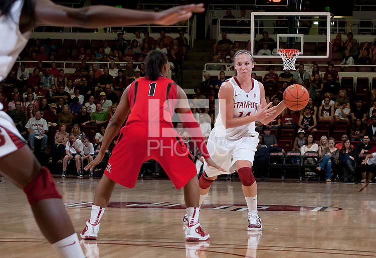 STANFORD, CA - November 14, 2010: Kayla Pedersen during a basketball game against Rutgers at Stanford University in Stanford, California. Stanford won 63-50.