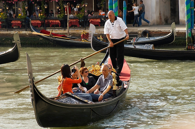 Gondola at the Rialto Bridge - Venice Italy