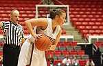 Katie Appleton (#13), Washington State senior guard, prepares to throw the ball in during the Cougars game against Montana State in Pullman, Washington, on November 23, 2008.  The Cougars prevailed in the contest, 78-66.