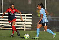 Piscataway, NJ - Saturday July 23, 2016: Estelle Johnson, Taylor Lytle during a regular season National Women's Soccer League (NWSL) match between Sky Blue FC and the Washington Spirit at Yurcak Field.