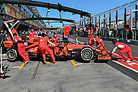 March 15, 2019: Mechanics work on the car of Sebastian Vettel (DEU) #5 from the Scuderia Ferrari team during practice session two at the 2019 Australian Formula One Grand Prix at Albert Park, Melbourne, Australia. Photo Sydney Low