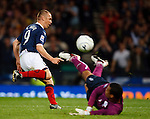 Kenny Miller's rebound is saved by Michel Vorm