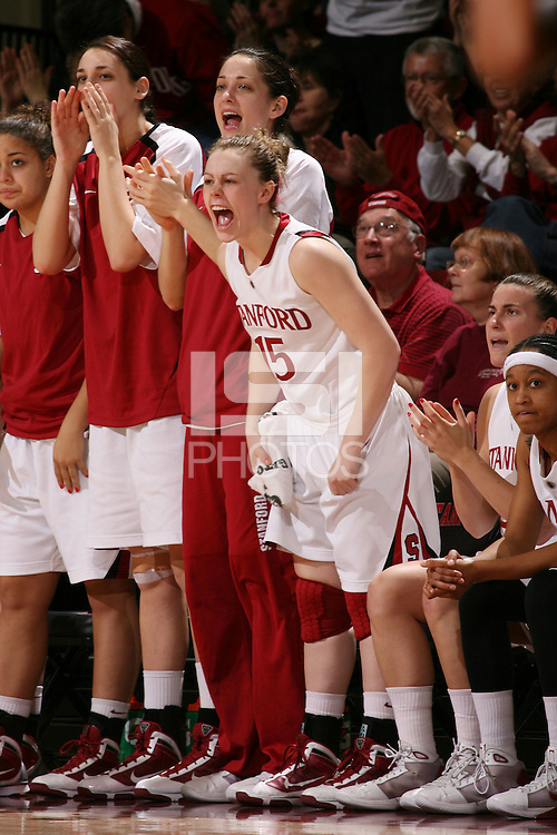 STANFORD, CA - FEBRUARY 7:  Lindy La Rocque and Michelle Harrison of the Stanford Cardinal during Stanford's 77-39 win over USC on February 7, 2010 at Maples Pavilion in Stanford, California.