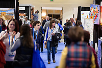 People walk through the vendor exhibition hall at the Union for Reform Judaism Biennial 2017 in the Hynes Convention Center in Boston, Mass., USA, on Wed., Dec. 6, 2017.