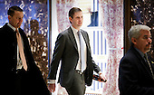 Eric Trump (C), one of President-elect Donald Trump's sons, arrives at Trump Tower in New York, New York, USA, 08 December 2016.<br /> Credit: Justin Lane / Pool via CNP