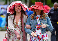 LOUISVILLE, KY - MAY 06: Two girls wear fancy hats on Kentucky Derby Day at Churchill Downs on May 6, 2017 in Louisville, Kentucky. (Photo by Scott Serio/Eclipse Sportswire/Getty Images)
