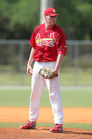 St. Louis Cardinals minor league pitcher Chase Reid delivers a pitch during a spring training game vs the Florida Marlins at the Roger Dean Sports Complex in Jupiter, Florida;  March 25, 2011.  Photo By Mike Janes/Four Seam Images