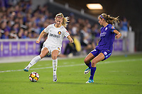 Orlando, FL - Saturday March 24, 2018: Utah Royals defender Katie Bowen (6) turns away from Orlando Pride midfielder Dani Weatherholt (17) during a regular season National Women's Soccer League (NWSL) match between the Orlando Pride and the Utah Royals FC at Orlando City Stadium. The game ended in a 1-1 draw.
