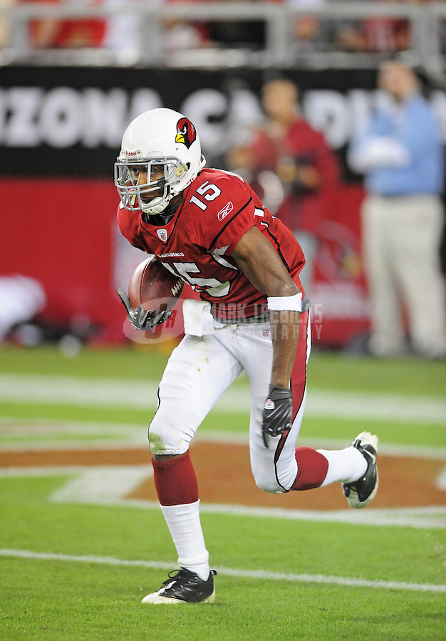 Nov. 10, 2008; Glendale, AZ, USA; Arizona Cardinals wide receiver Steve Breaston against the San Francisco 49ers at University of Phoenix Stadium. The Cardinals defeated the 49ers 29-24. Mandatory Credit: Mark J. Rebilas-
