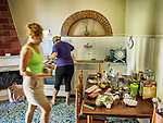 Nevena and Joana prepare dinner, at Casa 1, Mansummano, Tuscany, Italy