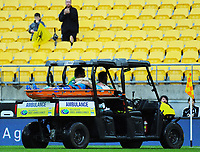 Phoenix keeper Filip Kurto leaves the field injured during the A-League football match between Wellington Phoenix and Perth Glory at Westpac Stadium in Wellington, New Zealand on Saturday, 2 December 2018. Photo: Dave Lintott / lintottphoto.co.nz