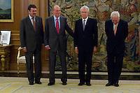 02.08.2012. Juan Carlos of Spain attends the audience with Mr. Mario Monti, President of the Council of Ministers of Italy, at the Palacio de la Zarzuela in Madrid. In the image Leonardo Visconti di Modrone, Italian Ambassador to Spain, King Juan Carlos I, Mario Monti and Jose Manuel Garcia-Margallo, Minister of Foreign Affairs of Spain. (Alterphotos/Marta Gonzalez) /NortePhoto.com<br /> <br />  **CREDITO*OBLIGATORIO** *No*Venta*A*Terceros*<br /> *No*Sale*So*third* ***No*Se*Permite*Hacer Archivo***No*Sale*So*third*