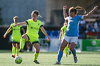 Seattle, WA - Sunday, April 17, 2016: Seattle Reign FC midfielder Kim Little (8) with the ball during the second half of the match. Sky Blue FC defeated the Seattle Reign FC 2-1 during a National Women's Soccer League (NWSL) match at Memorial Stadium.