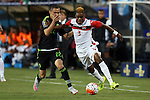 15 July 2015: Joevin Jones (TRI) (3) and Paul Aguilar (MEX) (22). The Mexico Men's National Team played the Trinidad & Tobago Men's National Team at Bank of America Stadium in Charlotte, NC in a 2015 CONCACAF Gold Cup Group C match.