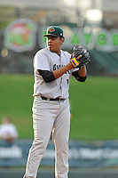 Starting pitcher Carlos Diaz (18) of the Augusta GreenJackets in a game against the Greenville Drive on Thursday, May 22, 2014, at Fluor Field at the West End in Greenville, South Carolina. Greenville won, 7-2. (Tom Priddy/Four Seam Images)