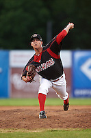 Batavia Muckdogs relief pitcher Brett Lilek (32) delivers a pitch during the eighth inning of a game against the Mahoning Valley Scrappers on June 24, 2015 at Dwyer Stadium in Batavia, New York.  Batavia defeated Mahoning Valley 1-0 as Gabriel Castellanos, Lilek and Steven Farnworth combined on the organizations first perfect game in team history.  (Mike Janes/Four Seam Images)